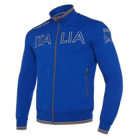 FELPA FULL ZIP BLU/ORO RUGBY ITALIA