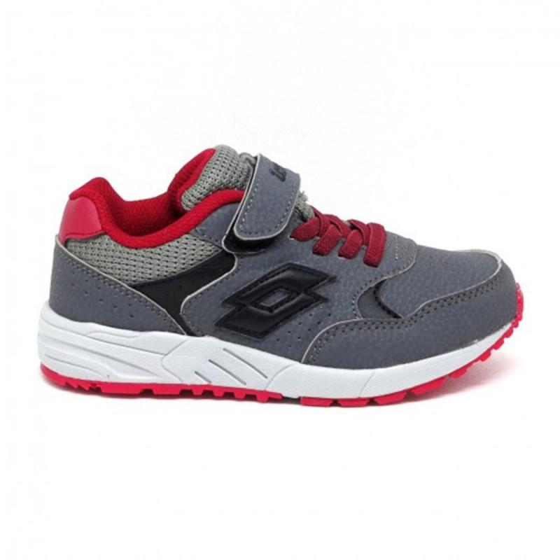 scarpe grigio/rosse strada vi bambino lotto