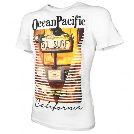 T-SHIRT BIANCA CALIFORNIA SURF OCEAN PACIFIC